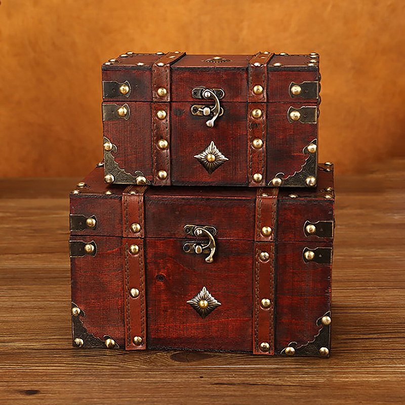 2 Pieces/Set Vintage Wooden Treasure Chest Box Jewelry Storage Keepsake Small Within Large Case Room Decoration