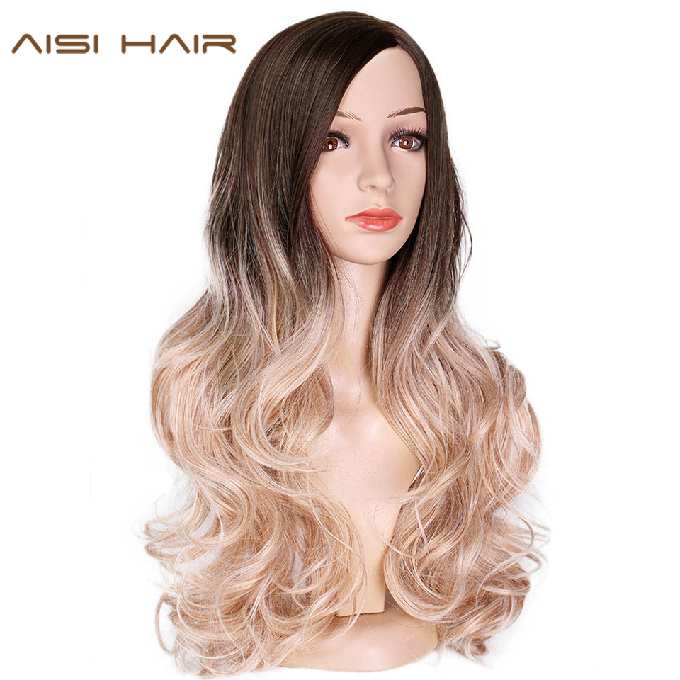 AISI HAIR Long Ombre Brown Wavy Wig Blonde Synthetic Wigs For Black Women Glueless Hair Heat Resistant Natural Wigs