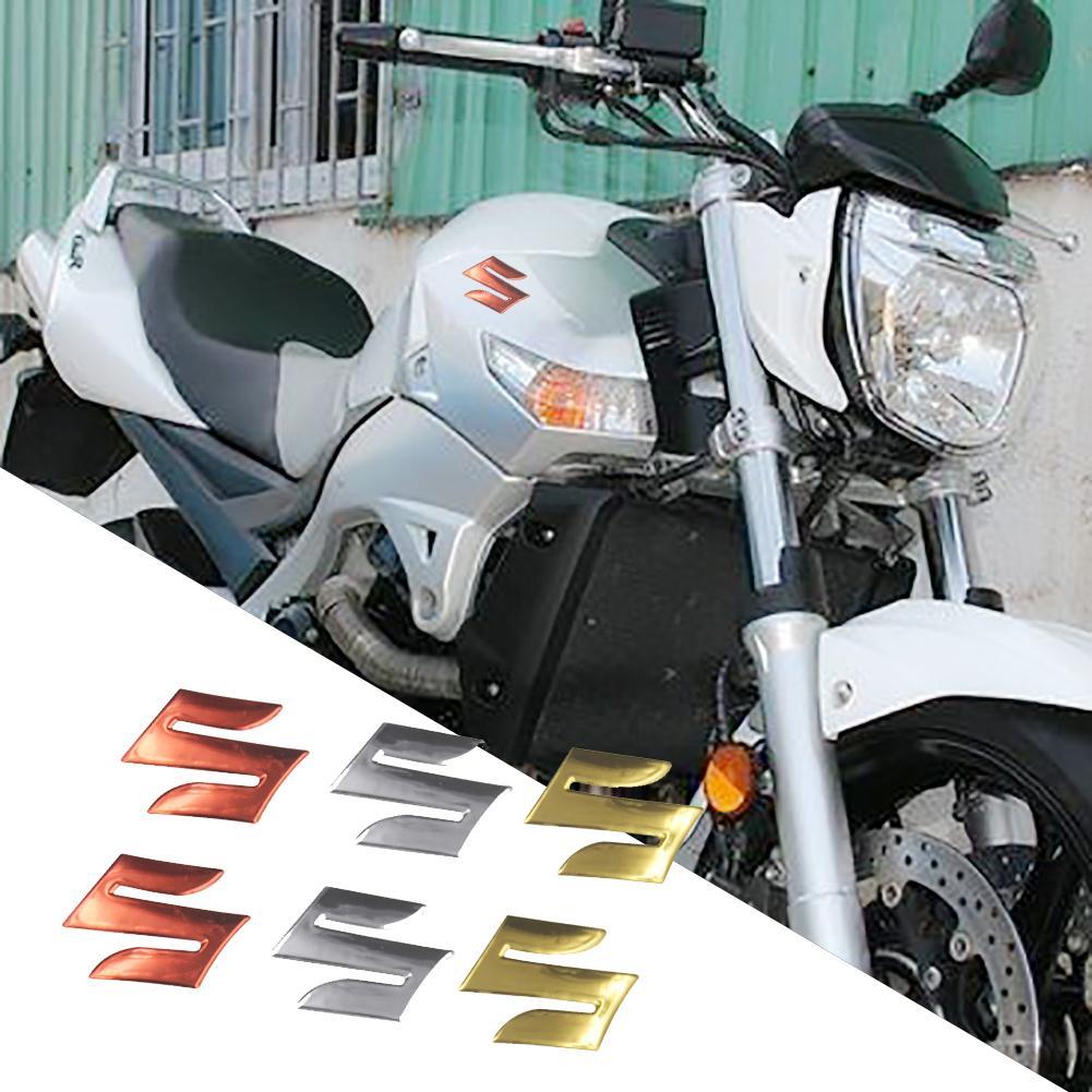 2Pcs/Set S Logo 3D Motorcycle Body Trunk Decor Styling Decals Sticker For Suzuki