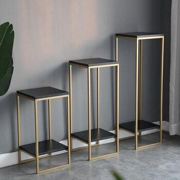 アート黄金の光贅沢なシンプルさ現代リビングルーム屋内植木鉢フレームグリーン羅グランドにストレージラック