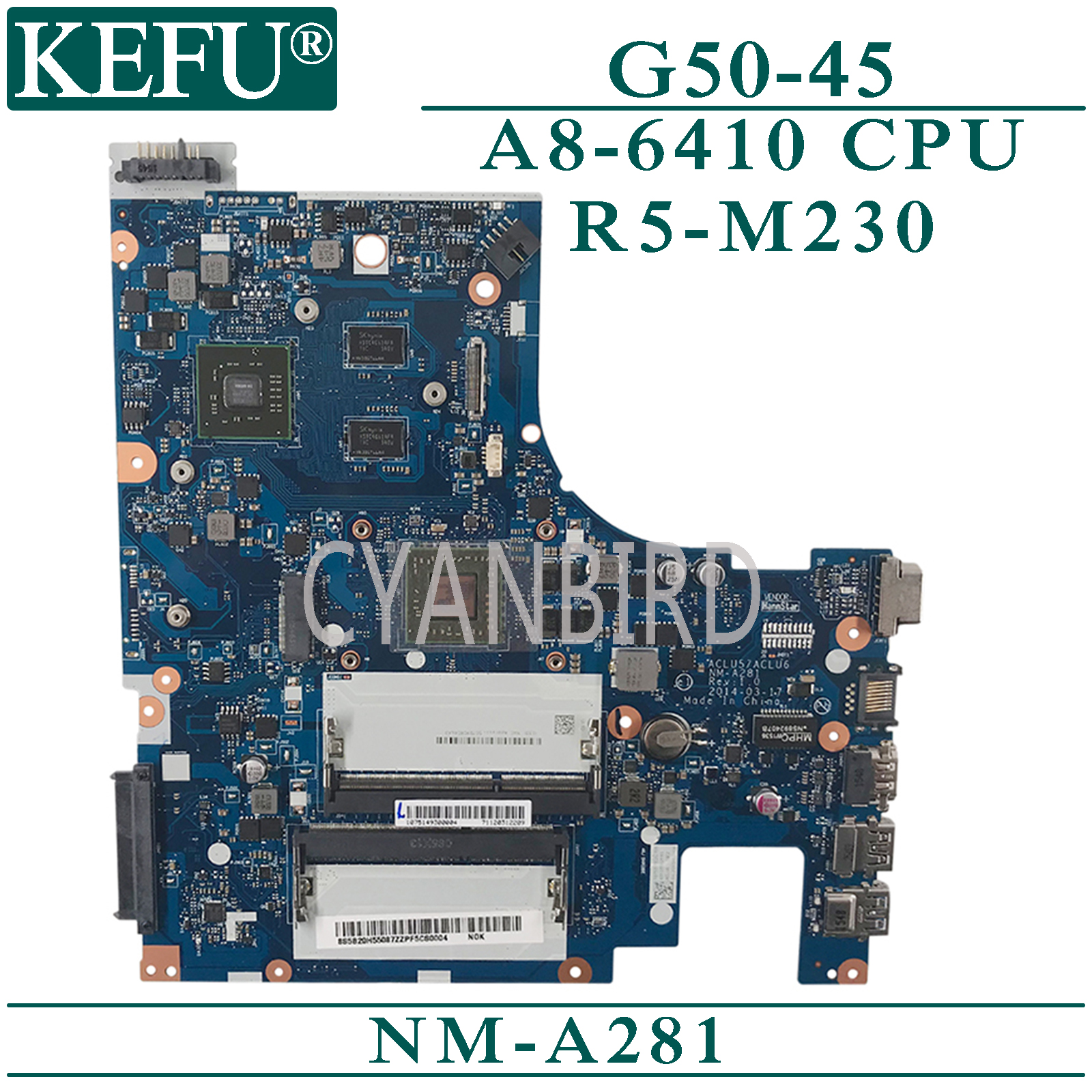 KEFU NM-A281 original mainboard for Lenovo G50-45 with A8-6410 R5-M230 Laptop motherboard