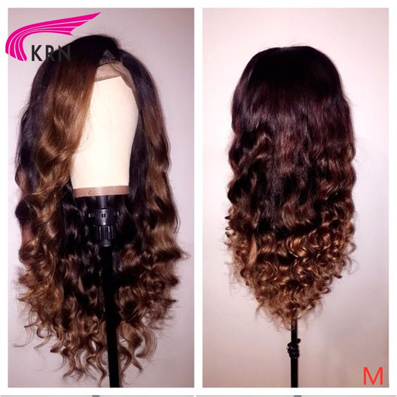 """KRN Wavy 13x6 Lace Front Middle Ratio 8""""-26"""" Remy Human Hair Wigs Ombre Color With Baby Hair Pre Plucked Free Part"""