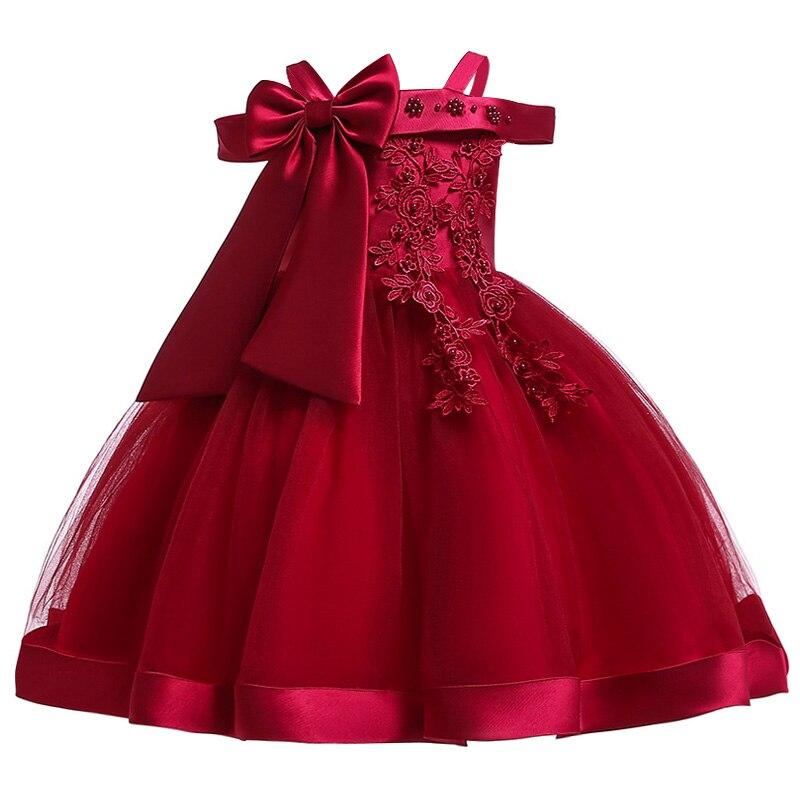 Новинка; платье принцессы для дня рождения, банкета, банкета, с бретельками; кружевное платье с цветочным узором для девочек на свадьбу; праздничное платье с рукавами; vestidos - Цвет: wine red