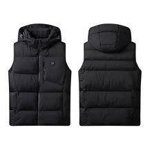 Men Plush Size Winter Heated Vest USB Electric Heating Warm Hooded Jacket L-6XL