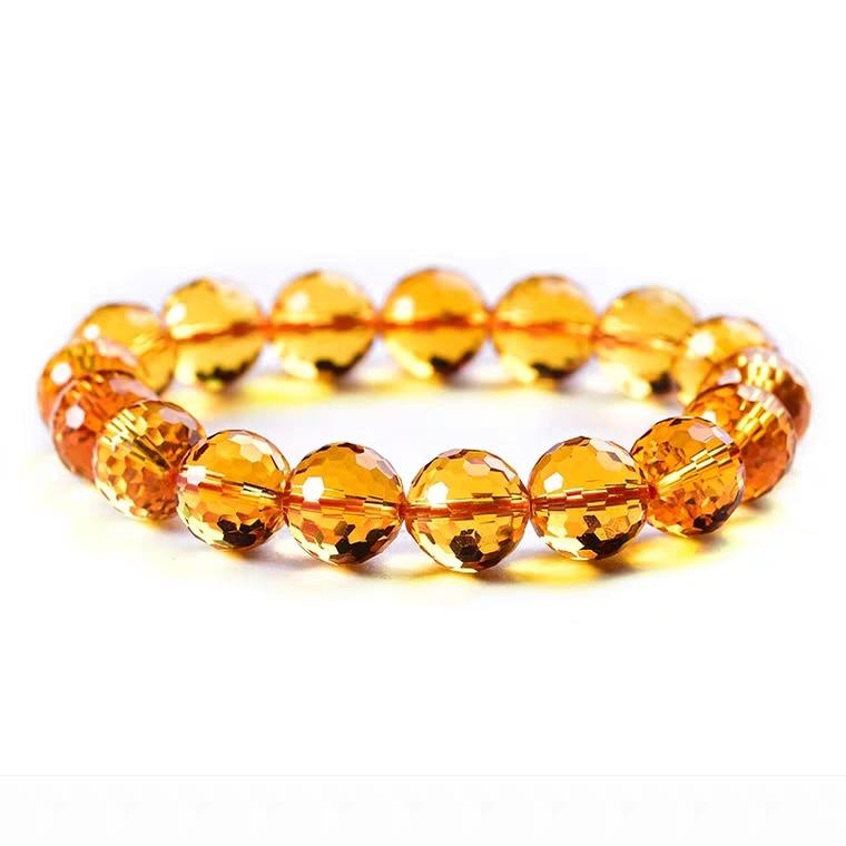 Genuine Natural Yellow Citrine Clear Round Beads Cut Bracelet Women Men Crystal Gemstone Wealthy 8mm 10mm 12mm Gift AAAAA