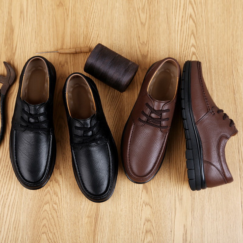 2020 Spring Autumn Business Shoes Plus Size 38-44 Genuine Leather Oxford Men's Casual Shoes Lace-up Flats Shoes Black *