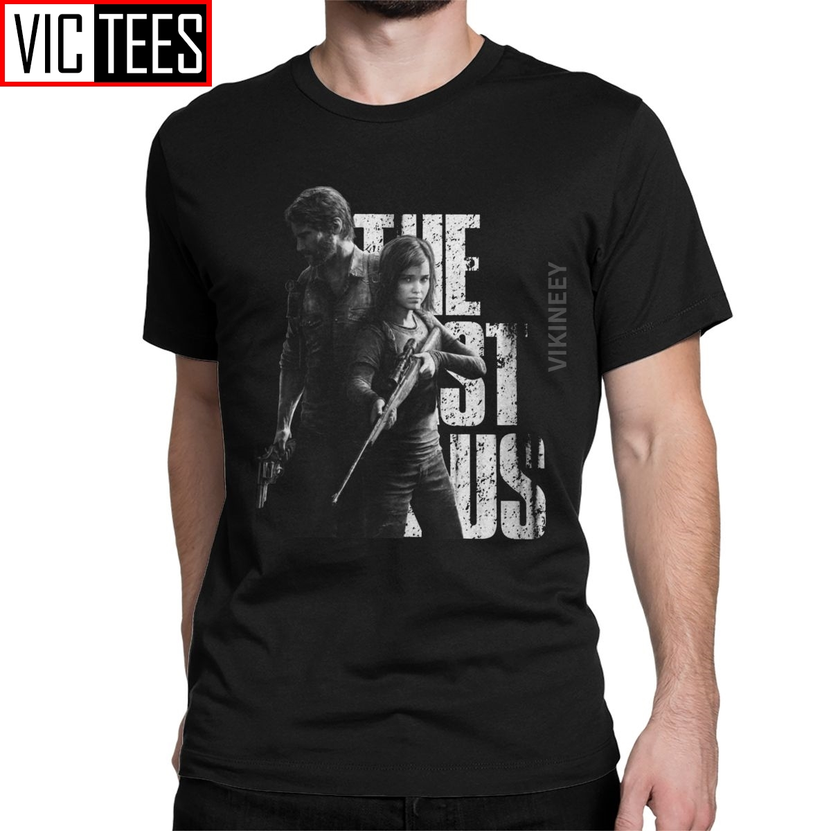 Vintage The Last Of Us Ellie And Joel T-Shirt For Men Cotton Tshirt Fireflies Tlou Video Game Oversized