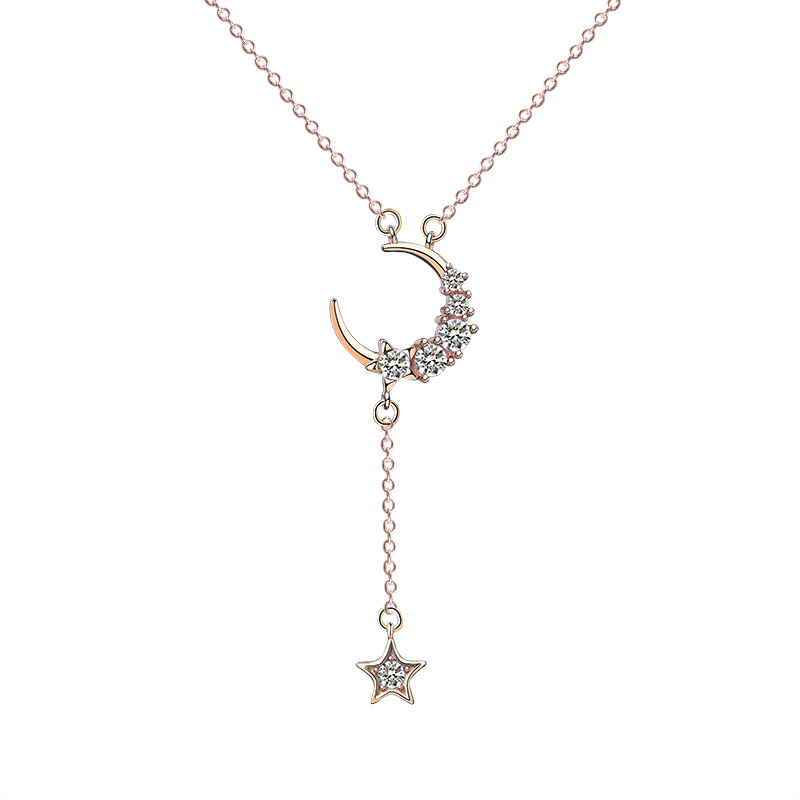 Loioloy 2020 New Sweet 925 Sterling Silver Star Moon Crescent Tassel Necklaces For Women choker collares Wedding Fine Jewelry