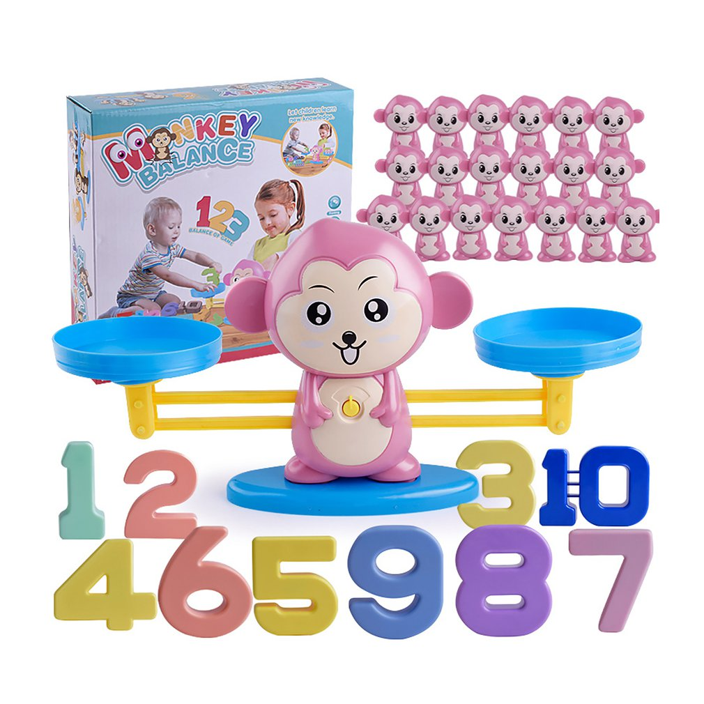 Monkey Digital Balance Scale Toy Math Match Game Board Toy Early Learning Balance Game Children Addition Subtraction Math Toys image