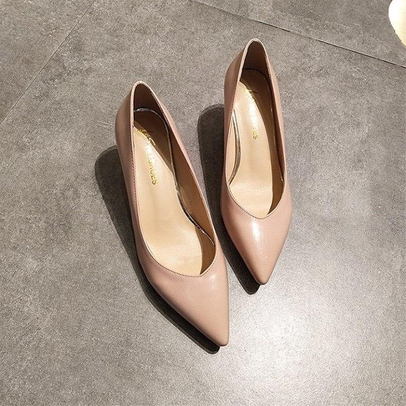 Туфли EOEODOIT женские кожаные, высокий каблук средней высоты, с V-образным вырезом, офисная обувь, рабочая обувь, 5 см, весна-осень