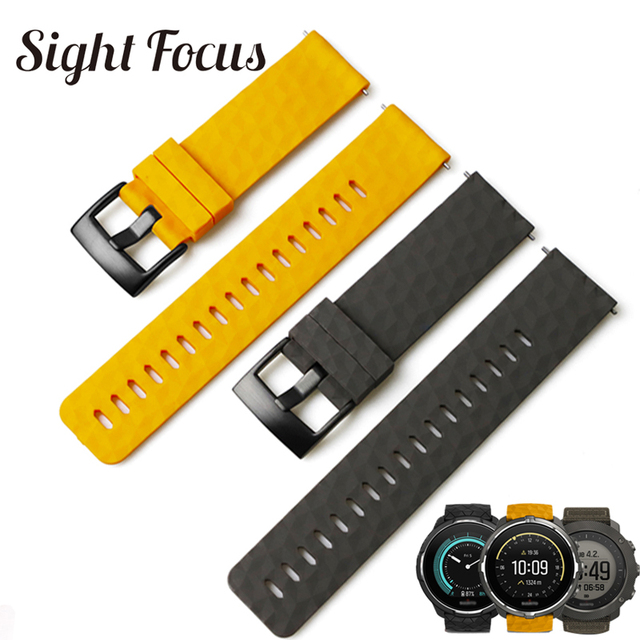 Sight Focus 24MM Silicone Watch Strap For Suunto9 Spartan Sport Watch Band Quick Release Suunto 9 Baro Traverse Rubber Watchband
