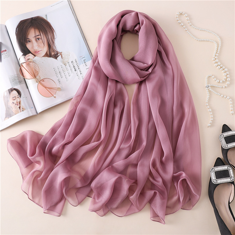 Women silk scarf solid shawls wraps foulard plain bubble chiffon beach scarves hijab pashmina candy colored scarfs|Women