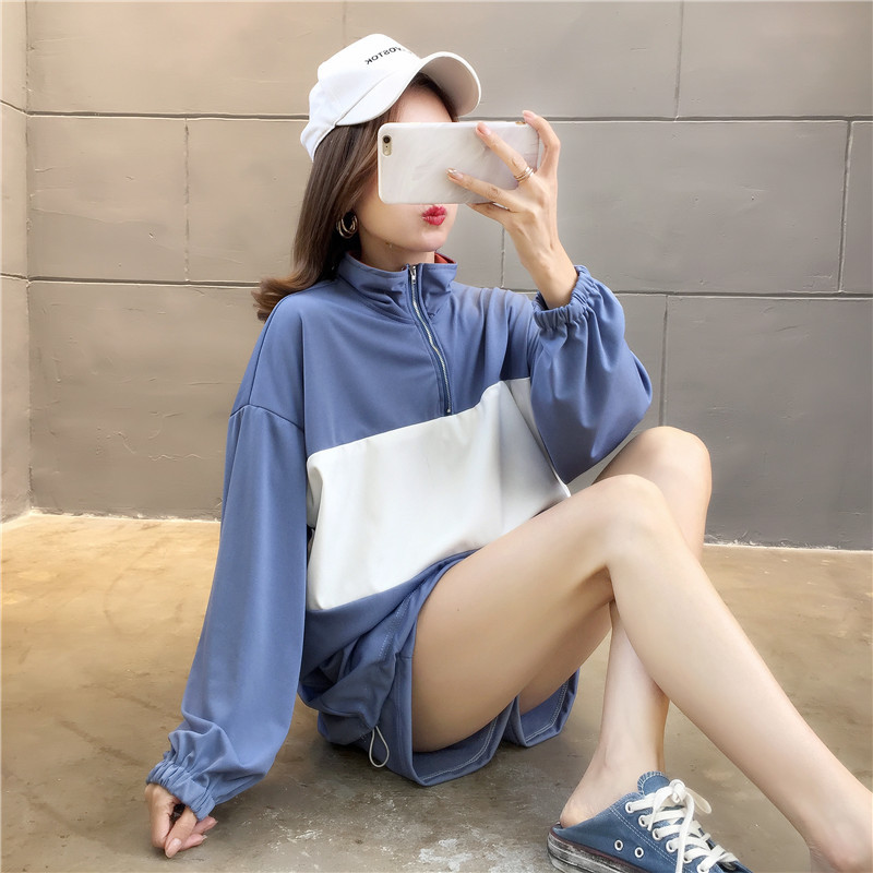 8041 # [Photo Shoot] Supply Of Goods Stability Lower Rack 2020 Spring Summer Shorts Long Sleeve Sports WOMEN'S Suit