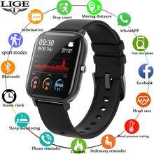 LIGE P8 스마트 워치 남성 여성 smartwatch 스포츠 피트니스 트래커 IPX7 방수 LED 전체 터치 스크린 안드로이드 ios에 적합