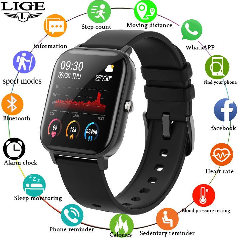 Lige p8 relógio inteligente das mulheres dos homens smartwatch esportes rastreador de fitness ipx7 à prova dwaterproof água led tela sensível ao toque completo adequado para android ios