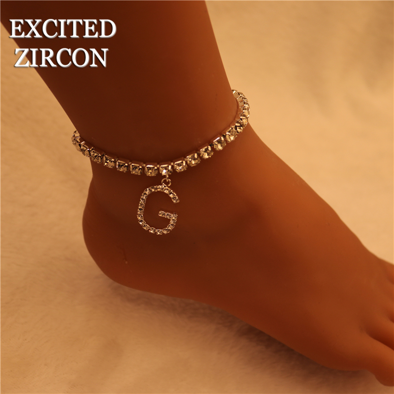 Rhinestone Letter Anklets Crystal Jewelry for Women Bling Tennis Chain Alphabet Ankle Bracelet Jewelry Fashion Gift For Women
