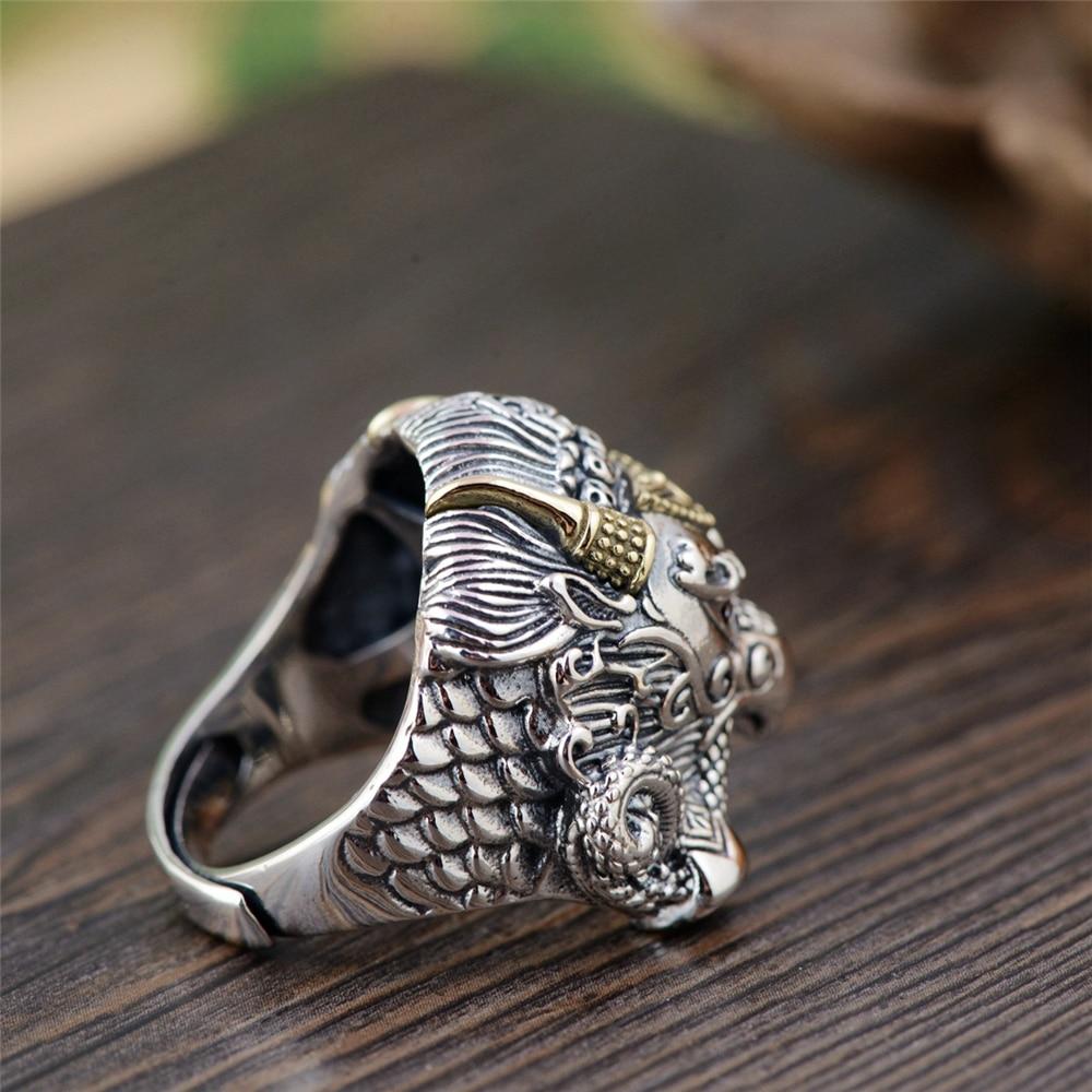GAGAFEEL bague pour animaux à la mode Vintage Thai argent Dapeng bague ailée dorée S925 bijoux en argent Sterling pour hommes - 4