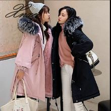 Xnxee2019 autumn and winter new down jacket female Korean version of the long loose bf waist was thin fur coat jacket 2018 new girls in the winter of the south korean version of the thick down jacket with a long coat in the hair collar and jacket