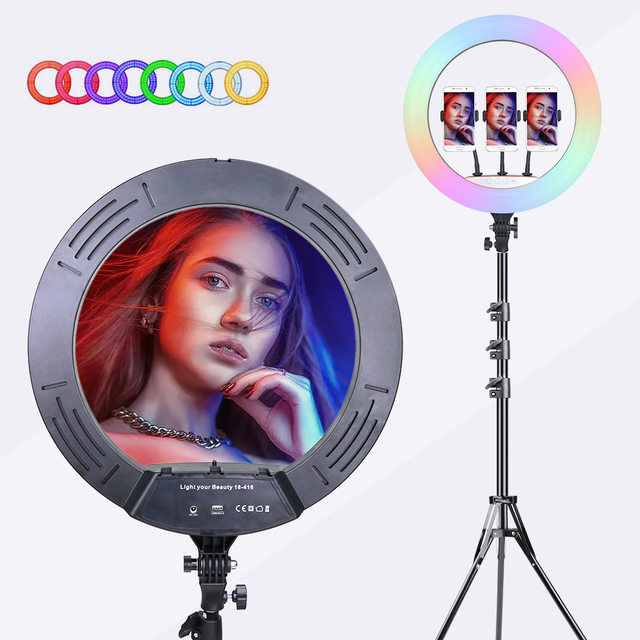 18 inch 45cm RGB Ring Light Selfie Colorful Photography Lighting with Phone Holder Stand LED Ring Lamp For Youtube Video Lives