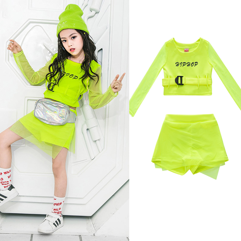 Hot Discount 1be0 Hip Hop Kids Jazz Dance Costumes Long Sleeve Fluorescence Top Pants Girls Hiphop Clothes Street Dance Stage Show Wear Dqs2553 Cicig Co