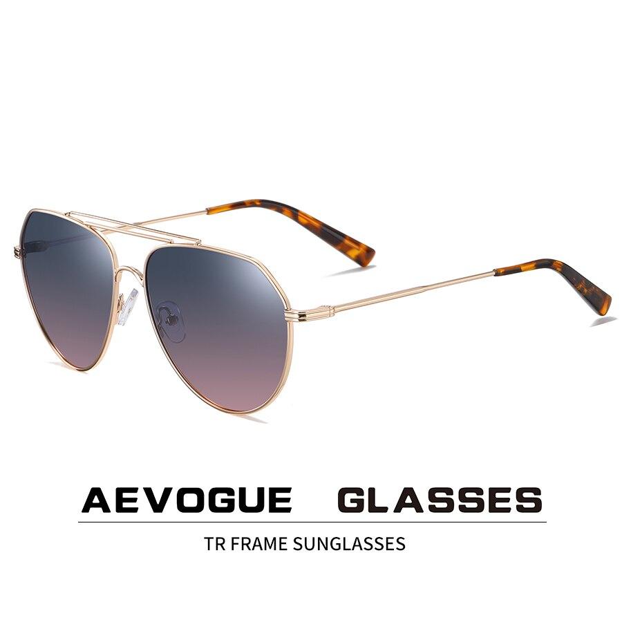 Aevogue óculos de sol homem piloto dois feixes polarizados azul oceano lente unisex óculos uv400 ae0821