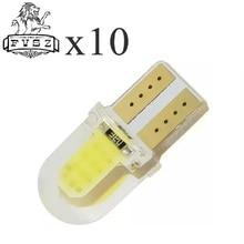 10 adet T10 LED W5W COB 194 168 801 SMD park ampul oto kama gümrükleme lambası CANBUS silika parlak beyaz lisans ampuller