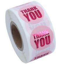Obrigado da selagem do presente da folha de ouro você adesivos 500 pces rosa & preto etiquetas adesivas decoração adesivo para envelopes do cartão de visita