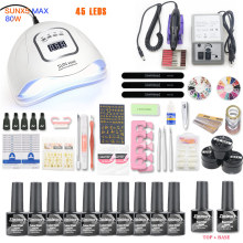 Net Set 10pcs Nail Gel Polish Kit UV LED Lamp 20000rpm Art Manicure Tools For Sets
