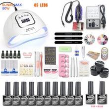 Net Set 10pcs Nail Gel Polish Kit UV LED Nail Lamp 20000rpm Nail Art Manicure Tools For Manicure Nail Art Sets Nail Polish Gel цена