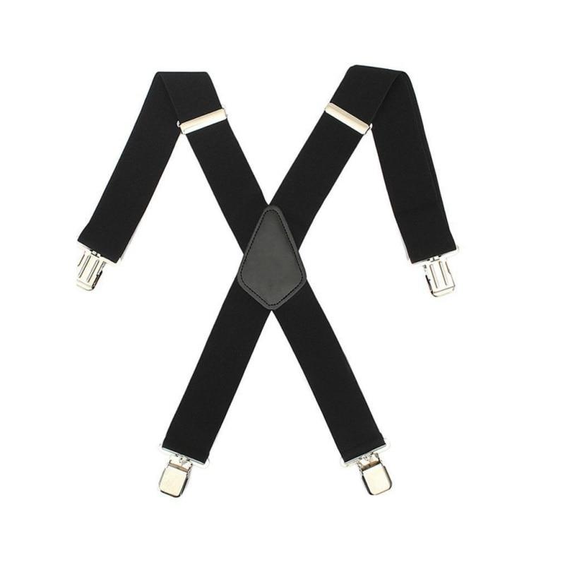 New Mens Women Black Elastic Suspenders Leather Braces X-Back Adjustable Clip-on New