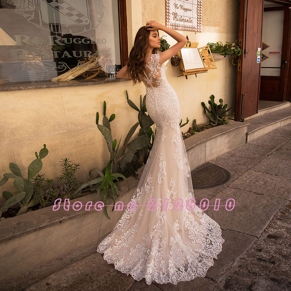 Image 5 - Appliques Lace Mermaid Wedding Dresses With Beading Crystal Removable Train 2020 China Shop Online Vestido De Noiva SereiaWedding Dresses   -