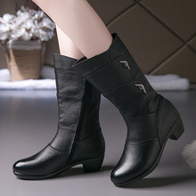 PU Leather Zipper women boots Fashion 2019 New Mid calf boot for female Rubber boots women Design Non slip Wear resistant цена