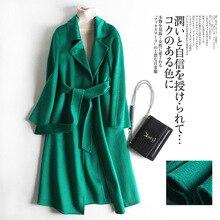 Shuchan Gloss Warm Coat Winter Wool Adjustable Waist Turn-down Collar Belt  Office Lady Long Solid Green Female Jacket Outerwear olive green drape collar drawstring waist coat