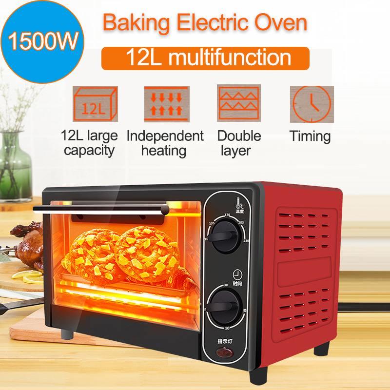 1500 w 12l casa mini forno elétrico máquina de cozimento pão tempo inteligente cozimento casa vida cozinha pão torradeira