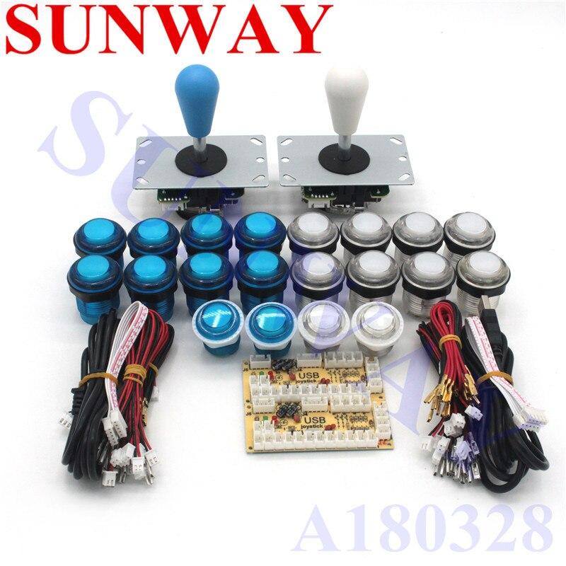 2 プレーヤー DIY アーケードジョイスティックキット 20 LED アーケードボタン + 5pin とジョイスティック + 5V アーケードの Usb エンコーダキット + ジョイスティックアーケードセット  グループ上の 家電製品 からの ジョイスティック の中 1