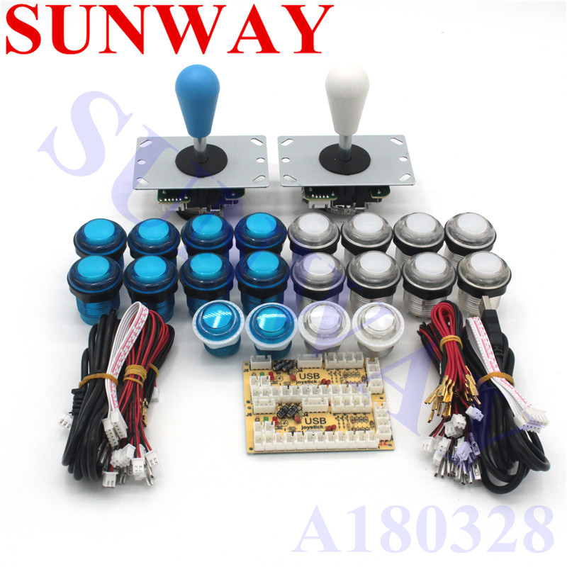 2 spelers DIY Arcade Joystick Kits Met 20 LED Arcade Knoppen + 5pin Joysticks + 5V Arcade USB Encoder kit + Joystick Arcade Set-in Joysticks van Consumentenelektronica op  Groep 1