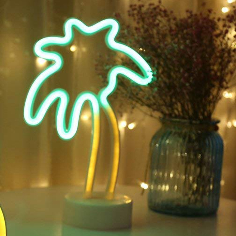 Top-Palm Tree LED Neon Sign Night Light With Base Coconut Tree Marquee Night Lamp Table Light Best Gift For Family Birthday Holi