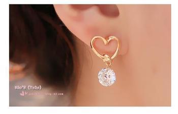 Korea Golden Heart Openwork Crystal Pendant Stud Earrings Modern Fashion Accessories Women's Earrings