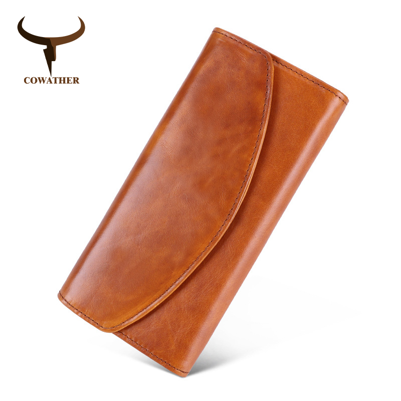COWATHER Women Wallet Top Quality Cow Genuine Leather Vintage Fashion Design Female Purse Big Capacity Cowhide Free Shipping