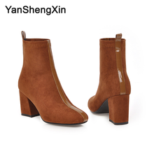 YANSHENGXIN Shoes Woman Boots Suede Knight Ankle High Heels Women Autumn Winter Large Size Ladies Booties