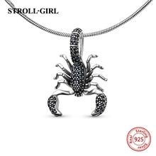 StrollGirl animal Black Scorpion Pendant with black charm 925 silver sterling beads fit original Pandora bracelets jewelry gift