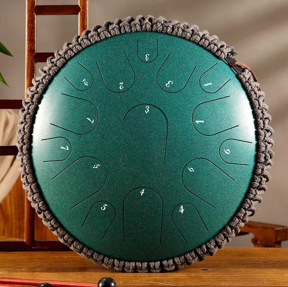 Новый стальной барабан для языка, 13 дюймов, 15 тонов, ручной барабан, перкуссионный инструмент, подарок для начинающих и любителей музыки для йоги, медитации 6