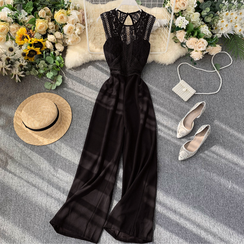 Elegant High Waist Hip Wide Leg Patchwork Lace Hollow Out Sleeveless Jumpsuit 1