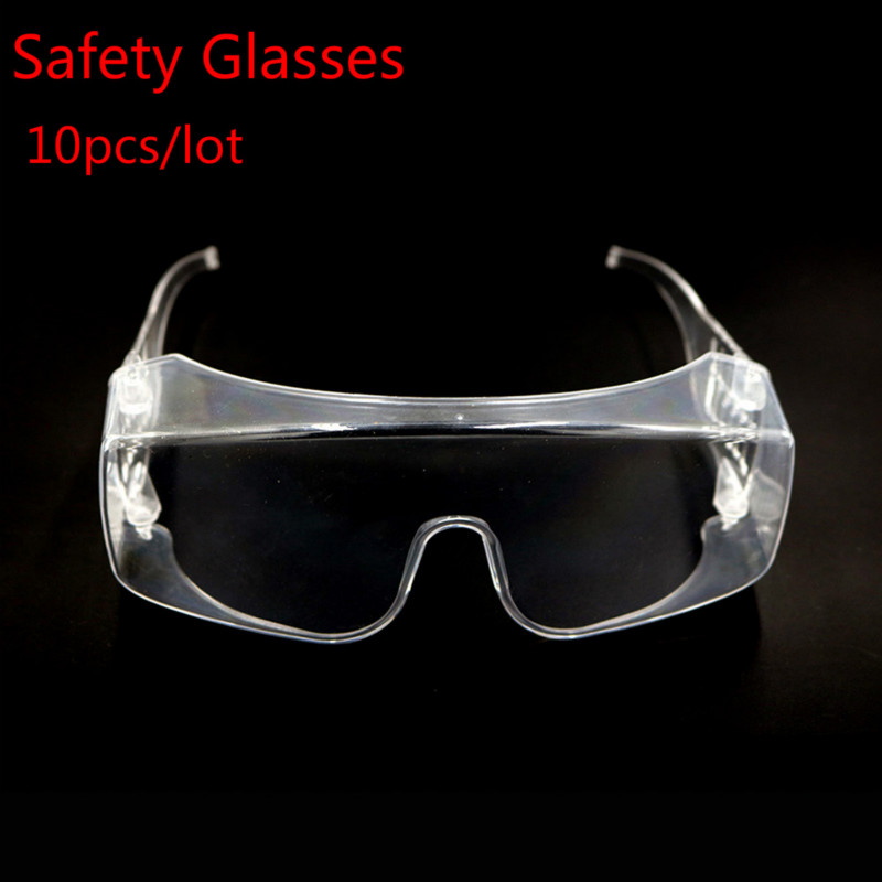 10pcs/lot Safety Glasses Goggles Lens Work Lab Protective Eye Protection PET Anti-splash Sand-proof Wind-proof Goggles