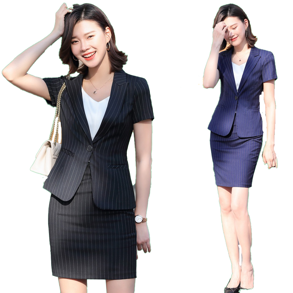 Summer Female Femal Skirt Suit Set For Women Business Suits Office Ladies Black Blazer And Jacket Sets Work Wear Uniform Styles