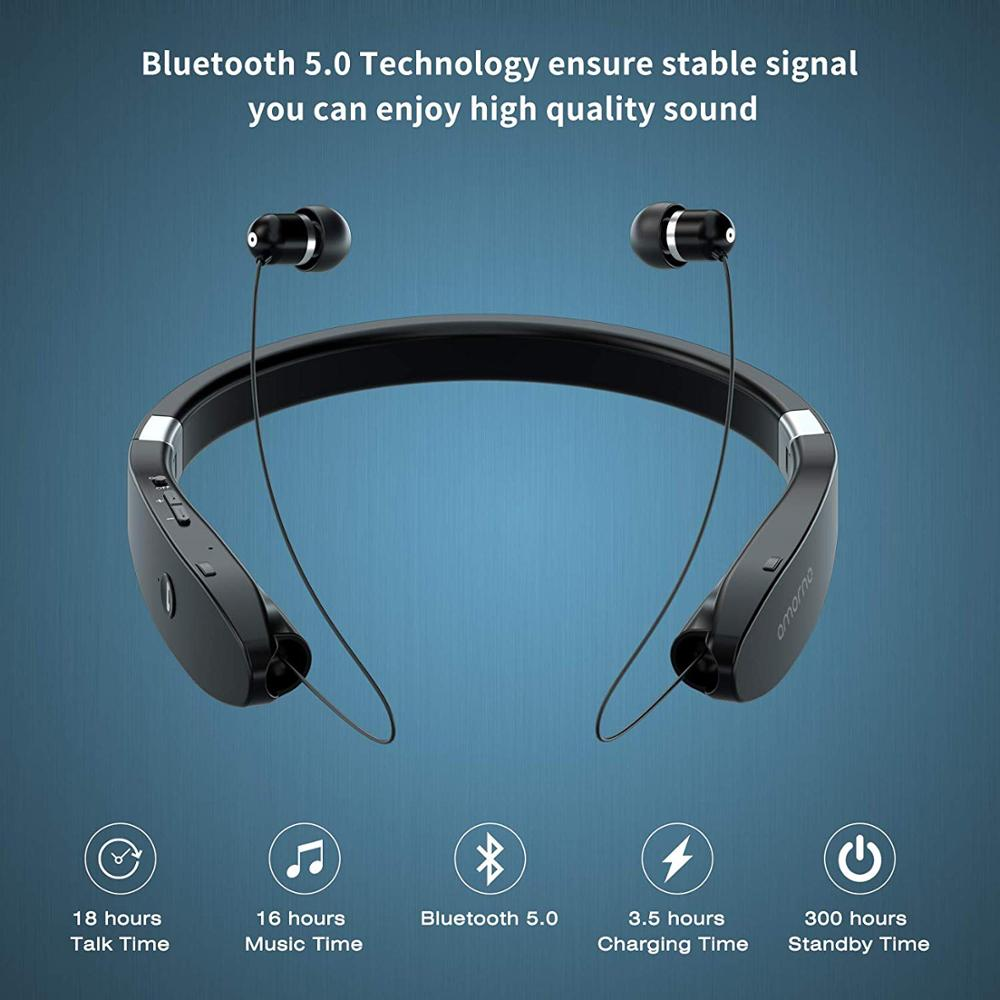 Amorno Neckband Earphones Wireless Fone Bluetooth Headphones With Mic Handsfree TWS Earbuds Noise Canceling Headphone Headset