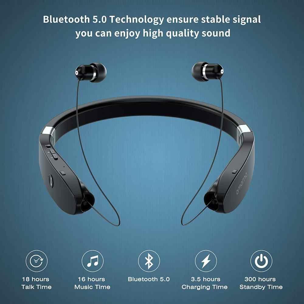 Amorno słuchawki Bluetooth bezprzewodowe słuchawki z mikrofonem zestaw głośnomówiący z słuchawkami słuchawki na szyję słuchawki z redukcją szumów