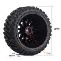 INJORA 4PCS RC Car Beadlock Rubber Tires Wheel Rim Set for 1/10 Short Course Truck Traxxas Slash 4x4 VKAR 10SC HPI 5