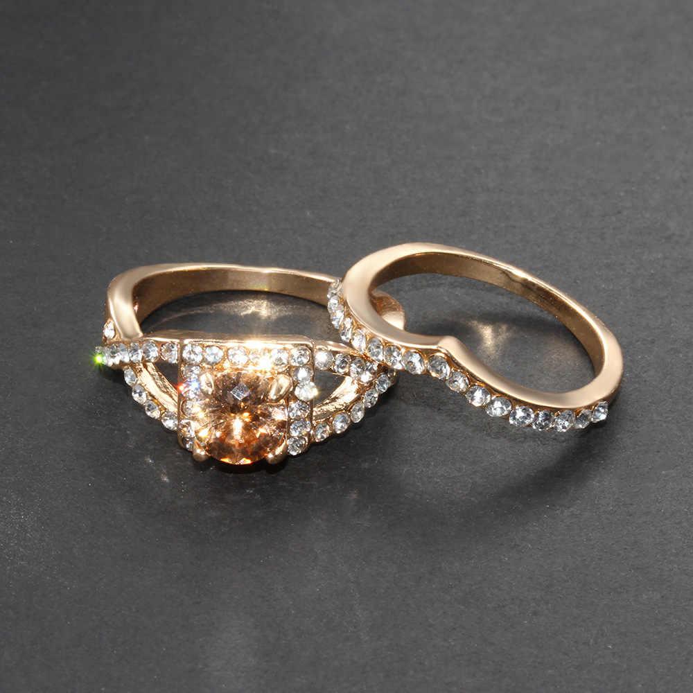 Nouvelle offre spéciale bague de fiançailles Zircon en forme de coeur deux pièces bijoux de mariage Couple bague de fiançailles cadeau d'anniversaire