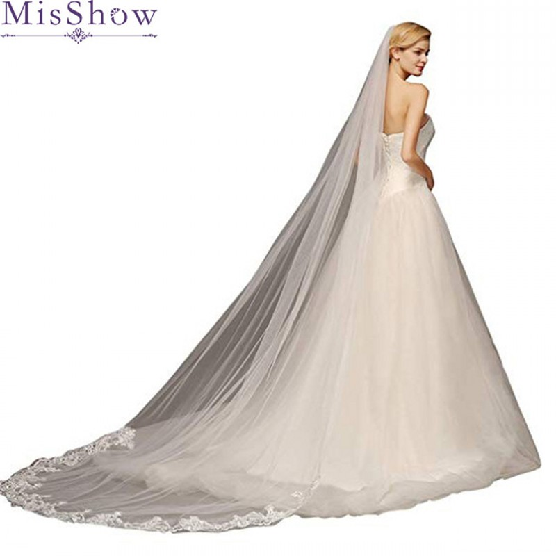 2019 New Lace Edge Long Veil Wedding White Bridal Veils With Sequins 3 Meters Ivory Cathedral Wedding Veil Cheap Voile De Marie